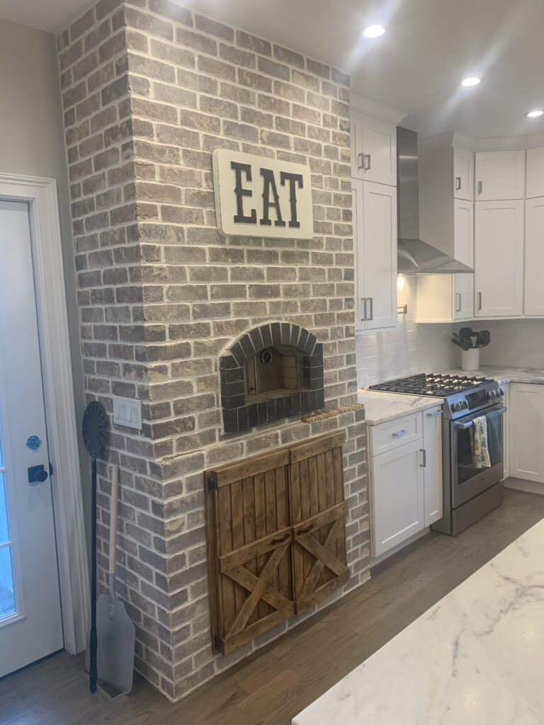 Forno Nardona Firenze oven installed in a customer built inside wall enclosure with brick in their kitchen.